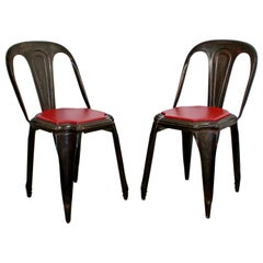 Mid-Century Modern Pair of Fibrocit Stacking Bistro Chairs Metal, France, 1950s
