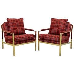 Mid-Century Modern Pair of Flat Bar Brass Armchairs DIA 1970s Baughman Style