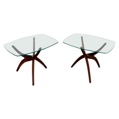 Mid-Century Modern Pair of Forest Wilson Side End Tables Walnut and Glass, 1960s