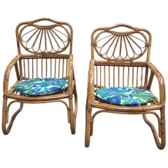 Mid-Century Modern Pair of French Riviera Bamboo Armchairs, 1970s