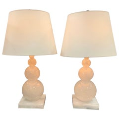 Mid-Century Modern Pair of Graduating Rock Crystal Round Ball Form Lamps