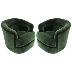 Mid-Century Modern Pair of Green Ruched Barrel Back Swivel Chairs