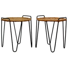 Mid-Century Modern Pair of Hairpin Iron Cane Stools Side Tables, Tony Paul 1950s