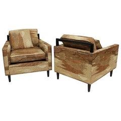 Mid-Century Modern Pair of Harvey Probber Club Lounge Chairs Lenor Larsen Fabric