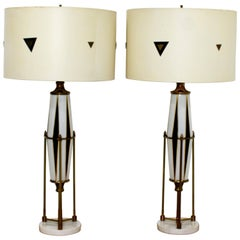 Mid-Century Modern Pair of Hollywood Regency Harlequin Brass Glass Marble Lamps
