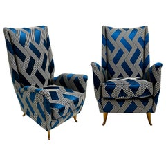 Mid-Century Modern Pair of Italian Armchairs Attribuited to Gio Ponti