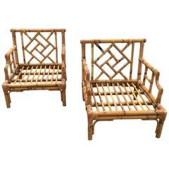 Mid-Century Modern Pair of Italian Bamboo Armchairs with Geometrical Motifs