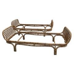 Mid-Century Modern Pair of Italian Bamboo Single Beds, 1970s