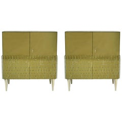 Mid-Century Modern Pair of Italian Birch Wood Murano Glass Gold Sideboards