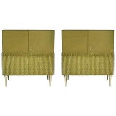 Mid-Century Modern Style Pair of Italian Birch Wood Murano Glass Gold Sideboards