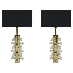Mid-Century Modern Pair of Italian Black Sculptural Murano Glass Table Lamps