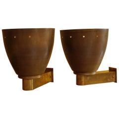 Mid-Century Modern Pair of Italian Brass Bell Sconces Gilded Inside