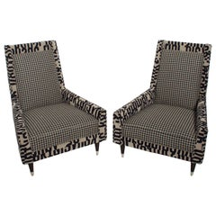 Gio Ponti Style by Arturo Pani Wild Wingback Lounge Chairs Midcentury Pair 1969