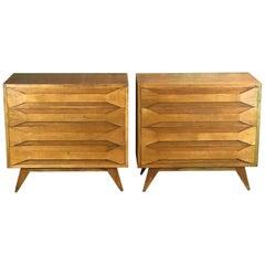 Mid-Century Modern Pair of Italian Modernist Oak Chest of Drawers