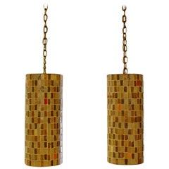 Mid-Century Modern Italian Murano Glass Tile Pendant Light Fixtures 1960s, Pair