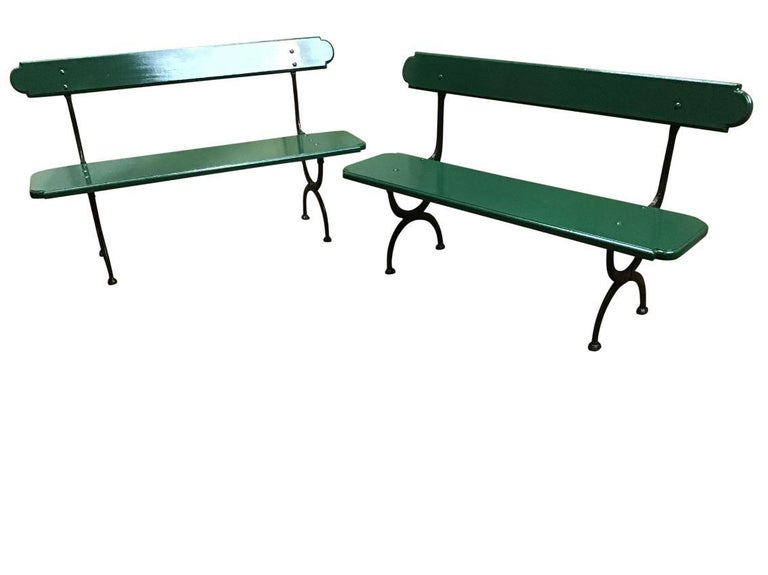 Mid-Century Modern pair of Italian green lacquered benches with cast iron structure, 1960s.