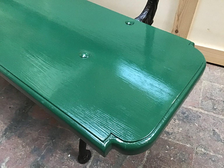 Hand-Painted Mid-Century Modern Pair of Italian Painted Wood and Cast Iron Structure Benches For Sale