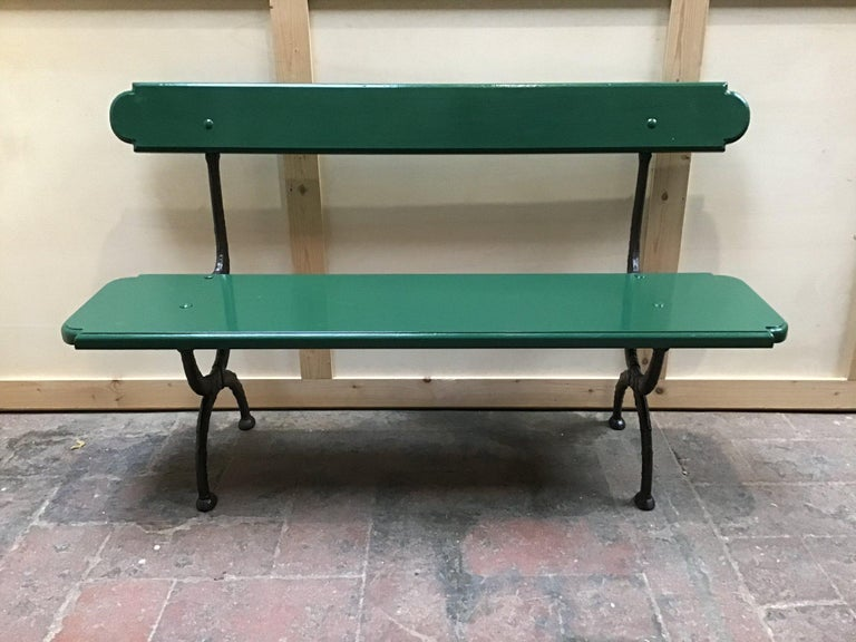 Mid-Century Modern Pair of Italian Painted Wood and Cast Iron Structure Benches For Sale 2