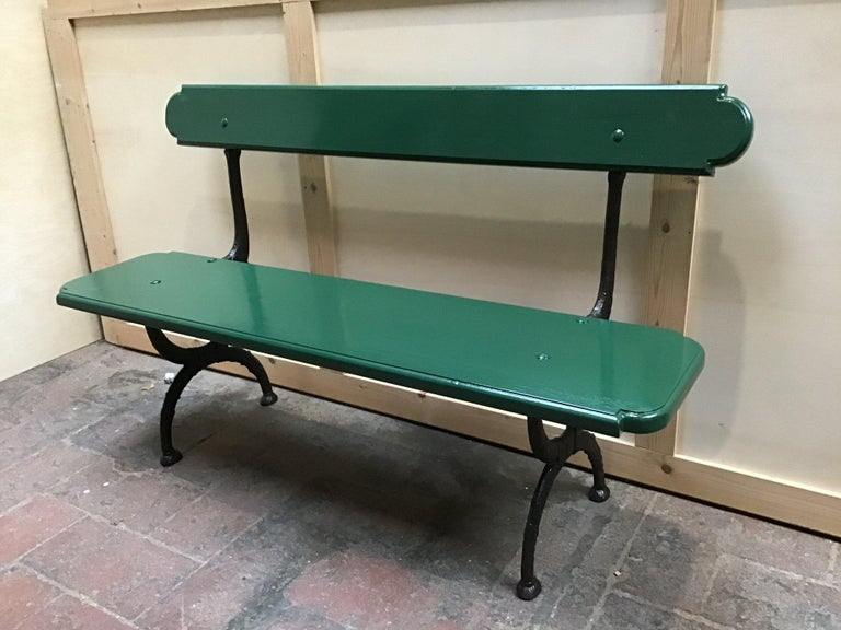 Mid-Century Modern Pair of Italian Painted Wood and Cast Iron Structure Benches For Sale 3