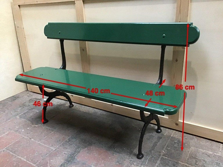Mid-Century Modern Pair of Italian Painted Wood and Cast Iron Structure Benches For Sale 4