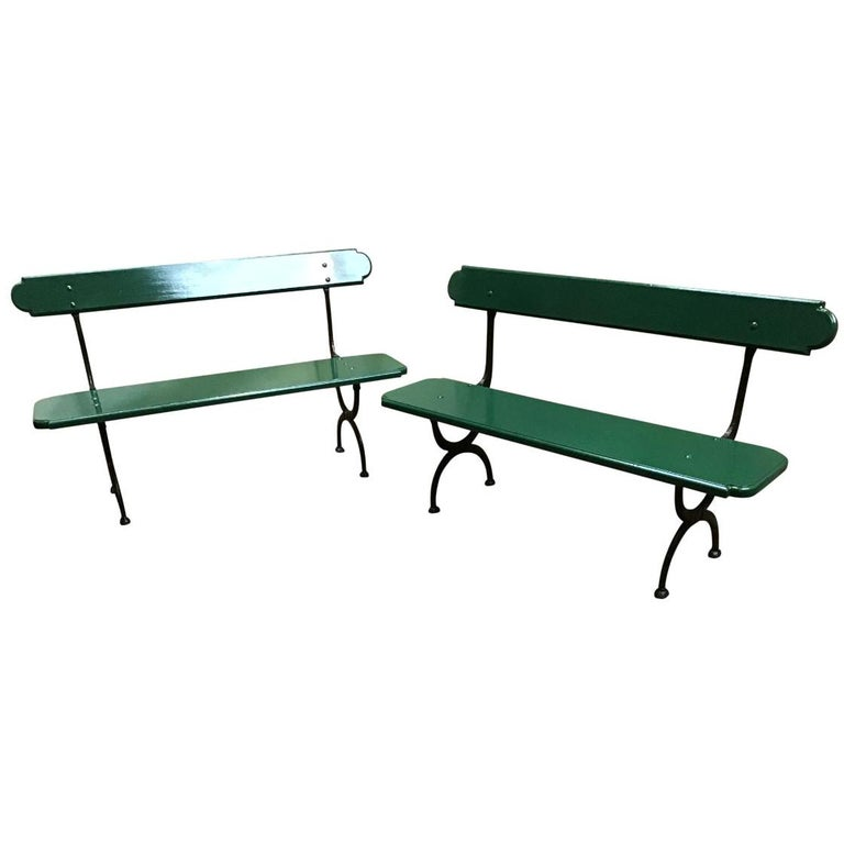 Mid-Century Modern Pair of Italian Painted Wood and Cast Iron Structure Benches For Sale