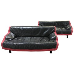 Mid-Century Modern Pair of Italian Sindbad Cassina Leather Sofas by Magistretti