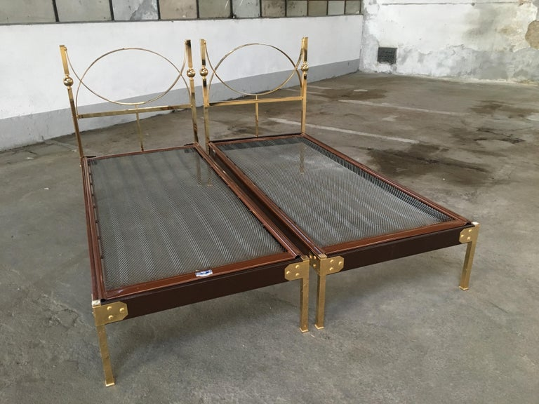 Mid-20th Century Mid-Century Modern Pair of Italian Single Beds with Gilt Headboard. 1960s For Sale
