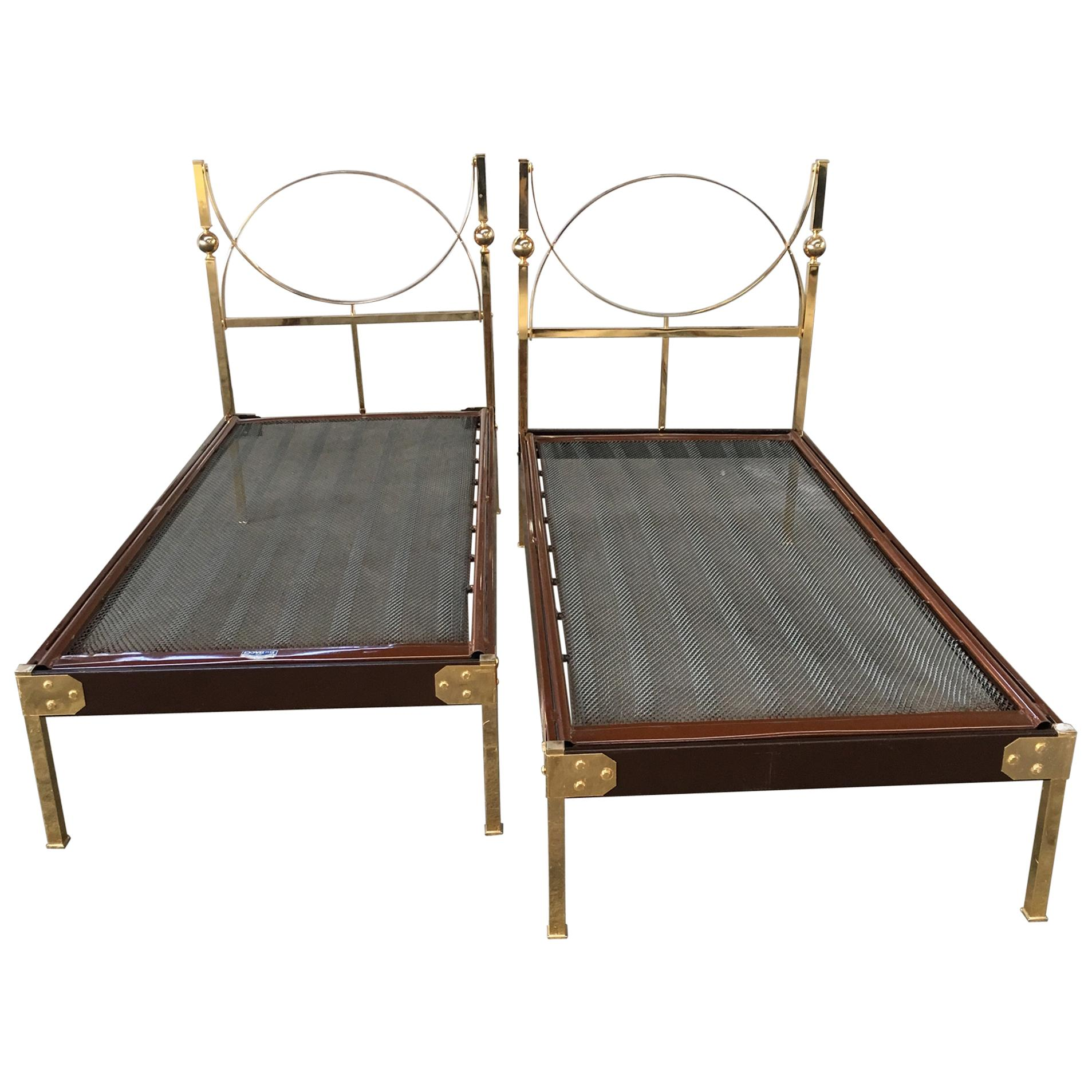 Mid-Century Modern Pair of Italian Single Beds with Gilt Headboard. 1960s