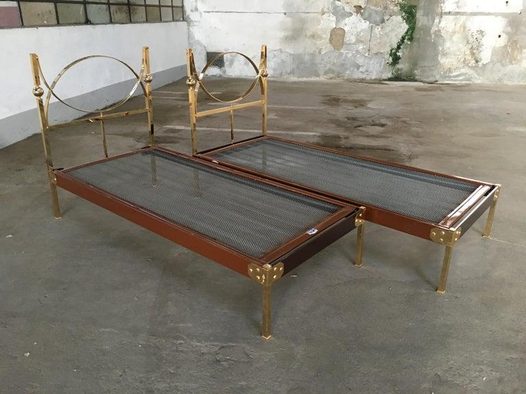 Mid-20th Century Mid-Century Modern Pair of Italian Single Beds with Gilt Headboard and Feet