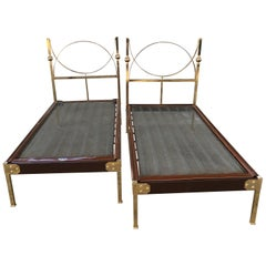 Mid-Century Modern Pair of Italian Single Beds with Gilt Headboard and Feet