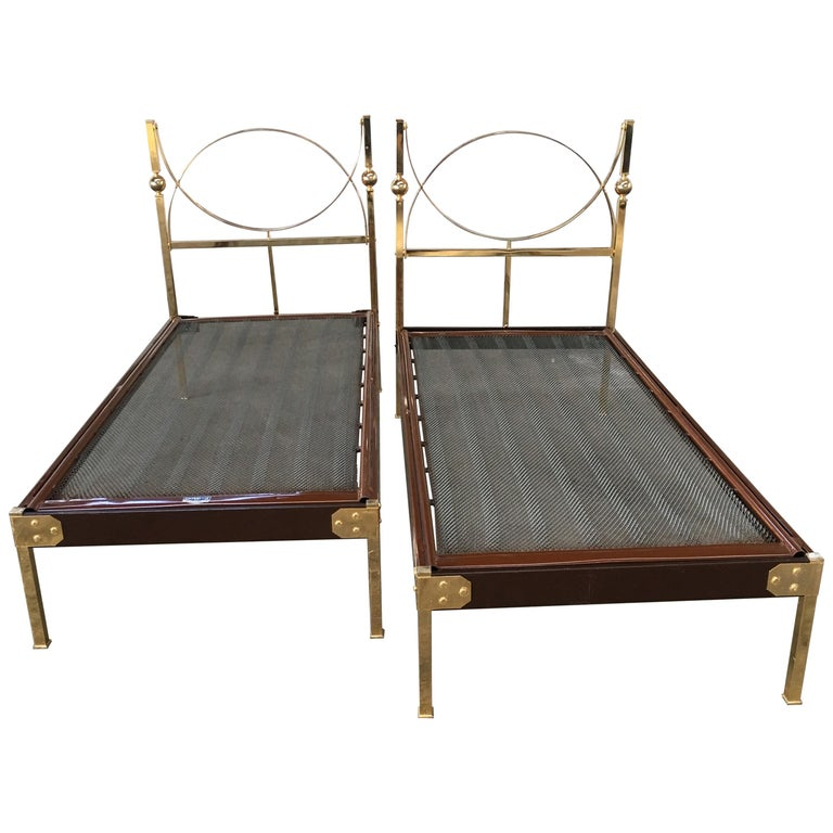 Mid-Century Modern Pair of Italian Single Beds with Gilt Headboard and Feet