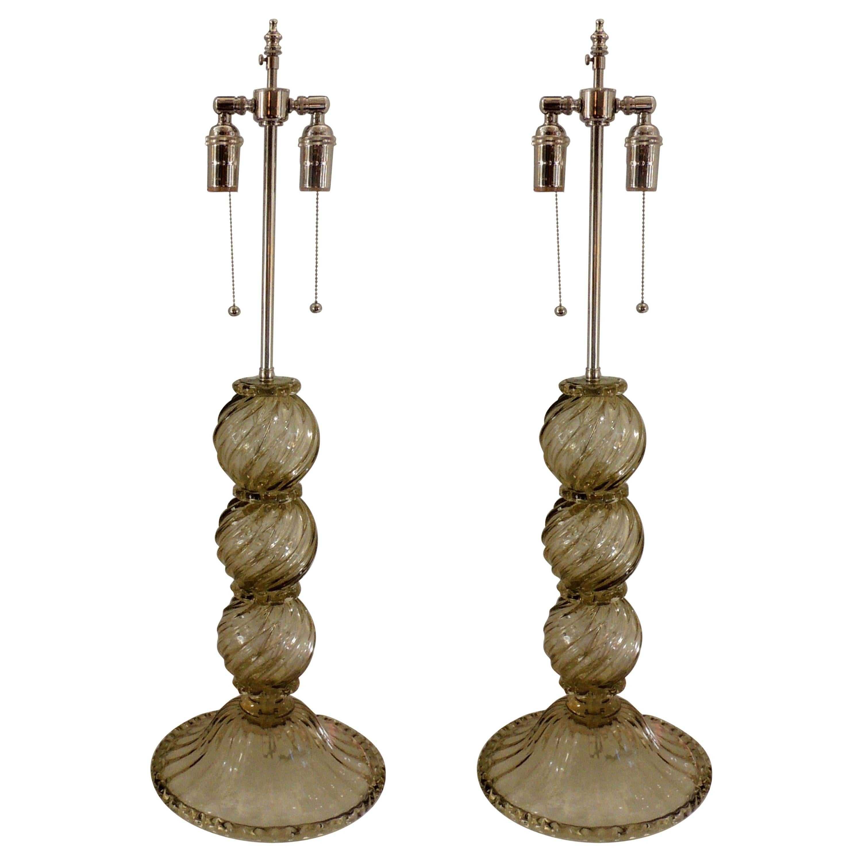 Mid-Century Modern Pair of Italian Venetian Swirl Murano Glass Lamps Lorin Marsh