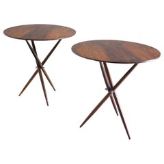 Mid-Century Modern Pair of Janete Side Tables by Sergio Rodrigues, Brazil, 1950s