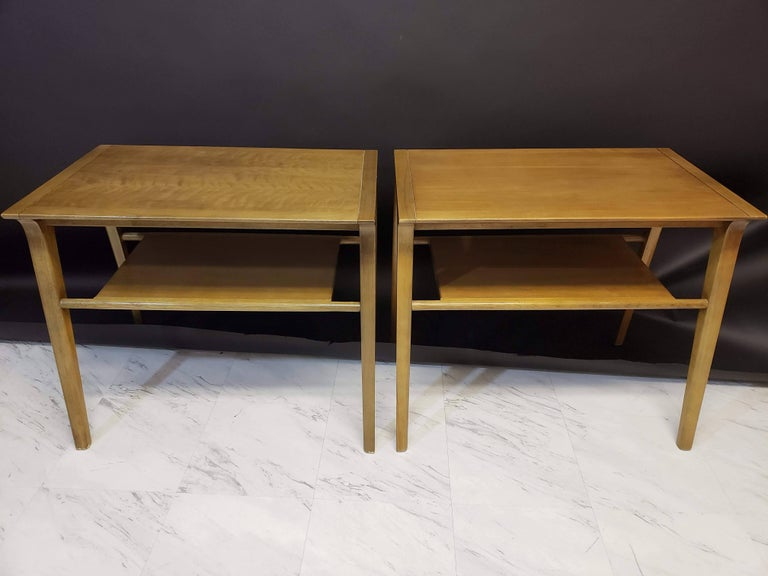 For your consideration is a stunning pair of John Van Koert end side tables. These tables are made of walnut and are very sturdy and in an excellent condition. Dimensions are: 28
