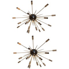 Mid-Century Modern Pair of Large Sputnik Lamps France