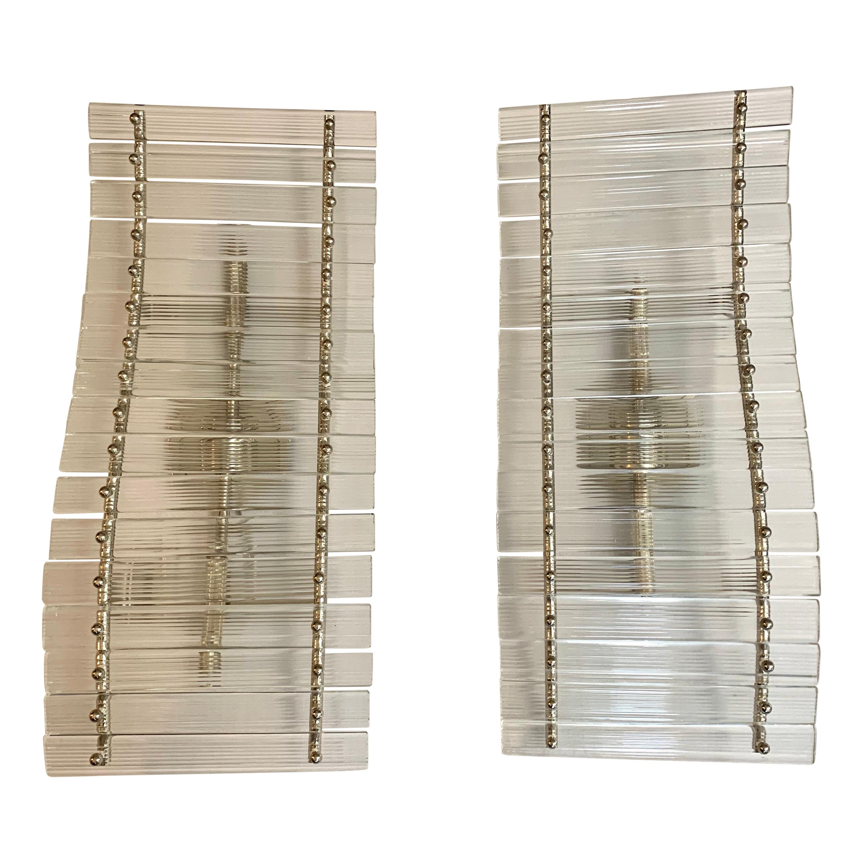 Mid-Century Modern Pair of Large Venini Murano Curved Glass Sconces Wall Lights
