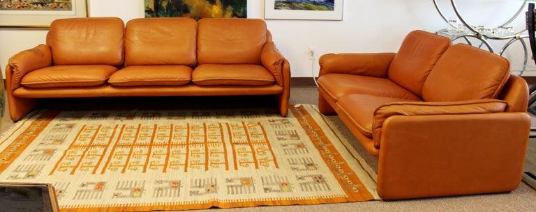 Swiss Mid-Century Modern Pair of Leather Sofa & Loveseat by De Sede, Switzerland 1970s