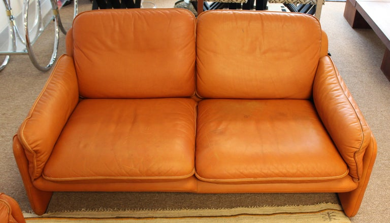 Late 20th Century Mid-Century Modern Pair of Leather Sofa & Loveseat by De Sede, Switzerland 1970s