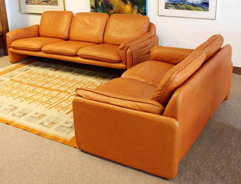 Mid-Century Modern Pair of Leather Sofa & Loveseat by De Sede, Switzerland 1970s 1