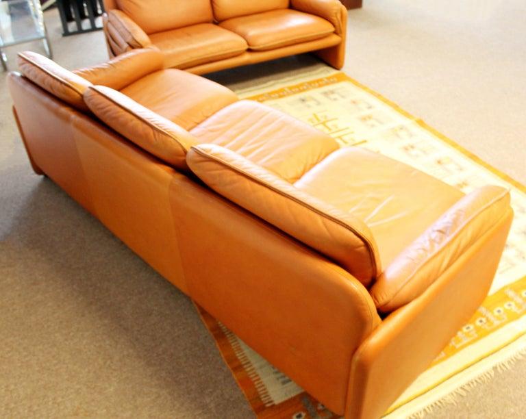 Mid-Century Modern Pair of Leather Sofa & Loveseat by De Sede, Switzerland 1970s 4