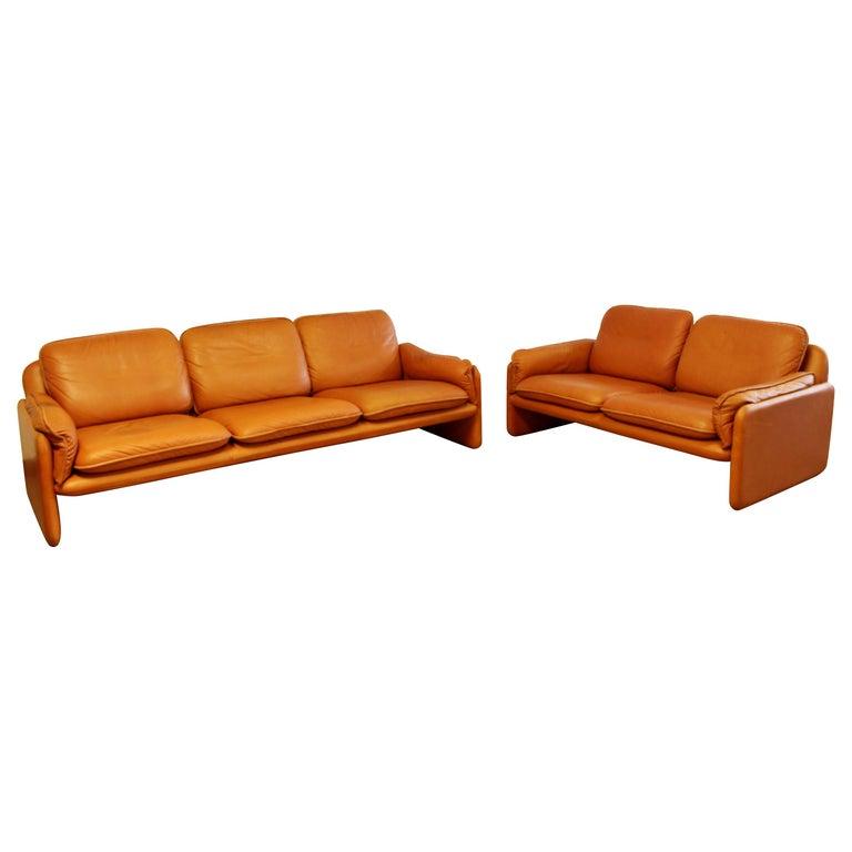 Mid-Century Modern Pair of Leather Sofa & Loveseat by De Sede, Switzerland 1970s