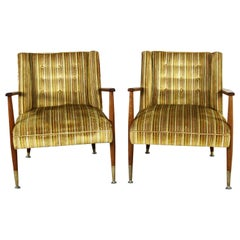 Mid-Century Modern Pair of Lounge Chairs with Teak Arms and Legs & Brass Sabots