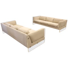 Mid-Century Modern Pair of Lucite and Fabric Sofas Selig Baughman Style, 1970s