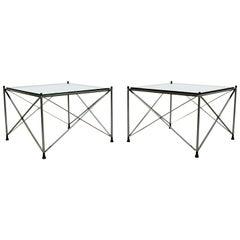 Mid-Century Modern Pair of Milo Baughman Chrome Glass X Base Side End Tables