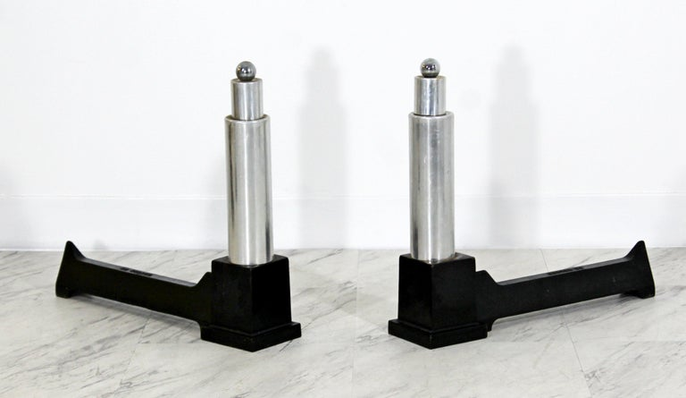 Mid-Century Modern Pair of Modernist Aluminum Andirons by Cutter For Sale 1