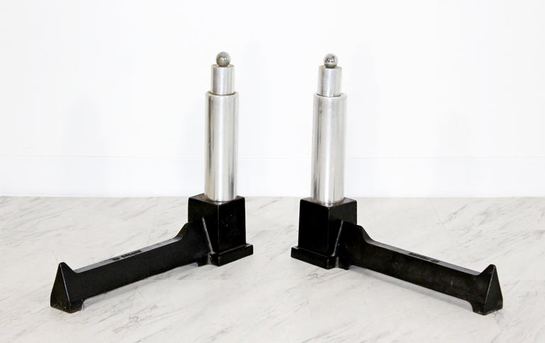 Mid-Century Modern Pair of Modernist Aluminum Andirons by Cutter For Sale 2