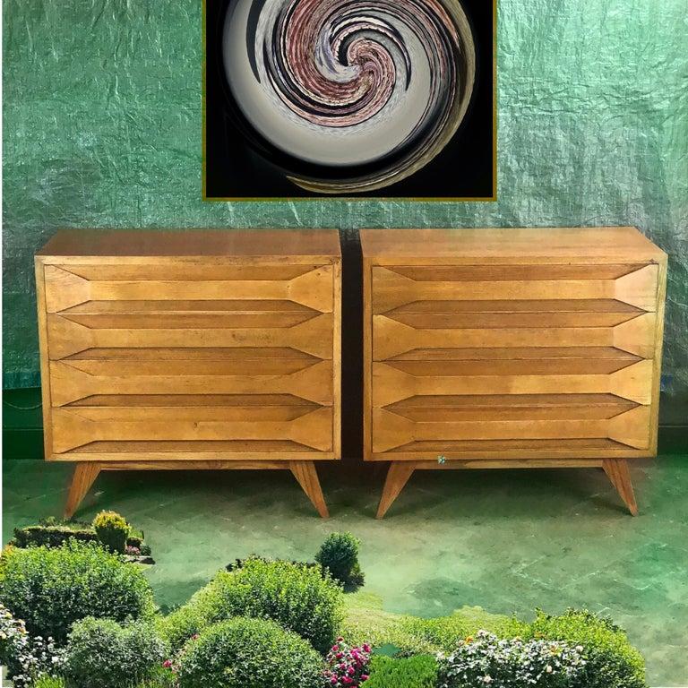 Mid-Century Modern Pair of Modernist Italian Oak Chest of Drawers For Sale 5