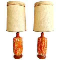 Mid-Century Modern Pair of Monumental Ceramic Drip Glaze Table Lamps and Shades