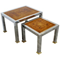 Mid-Century Modern Pair of Nesting Stacked Tables Burl Wood Chrome Brass, 1960s