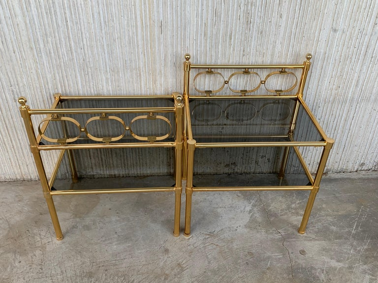Mid-Century Modern Pair of Nightstands with Two Fumee Glass Shelves  For Sale 7